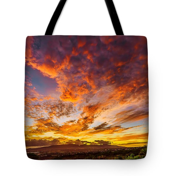 Tote Bag featuring the photograph Red Sunset Behind The Waianae Mountain Range by Aloha Art