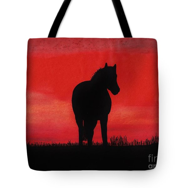 Red Sunset Horse Tote Bag