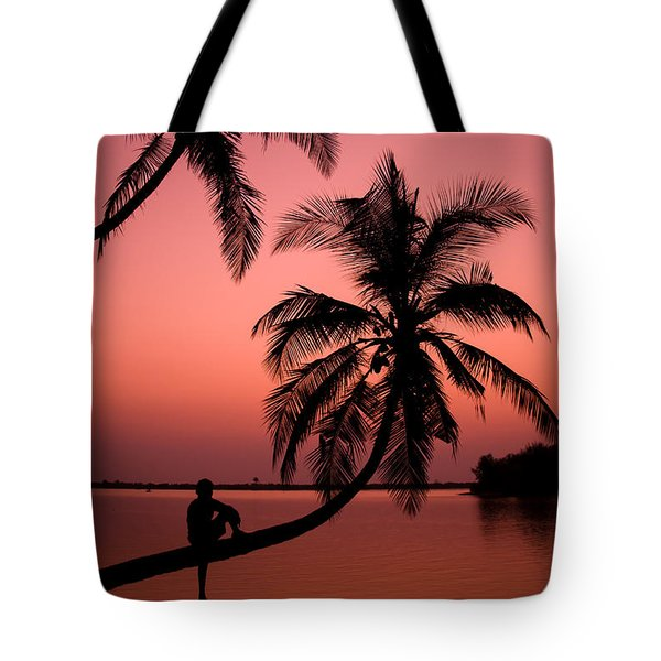 Red Sunset In The Tropics Tote Bag