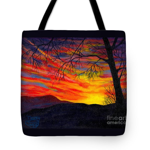 Tote Bag featuring the painting Red Sunset by Nancy Cupp