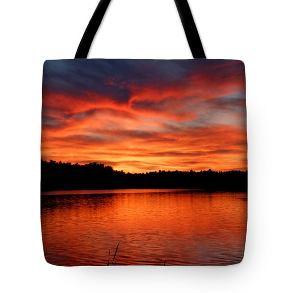 Red Sunset Reflections Tote Bag by Denyse Duhaime