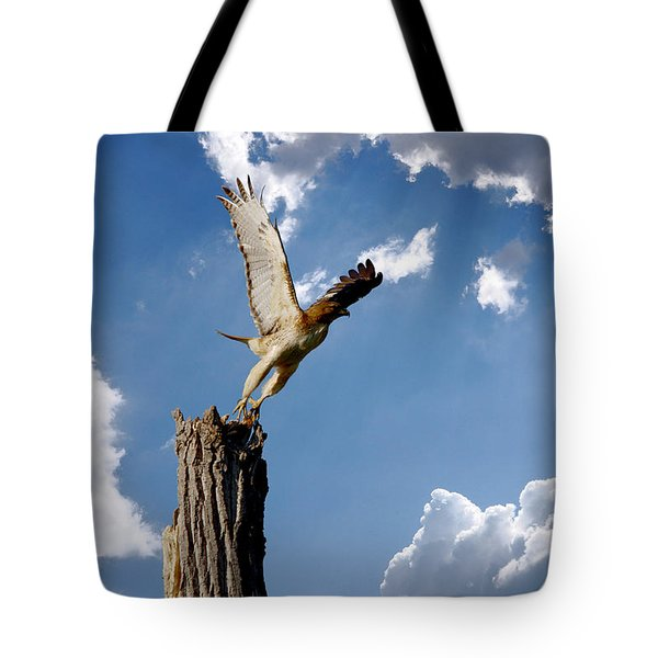 Red-tailed Hawk Perch Series 5 Tote Bag by Roy Williams