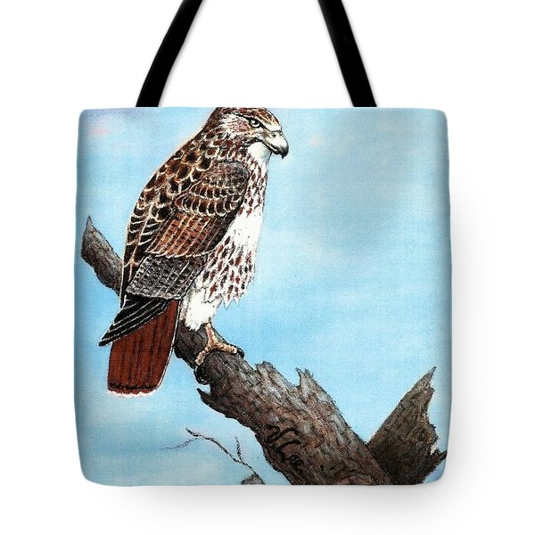 Tote Bag featuring the painting Red Tailed Hawk by VLee Watson
