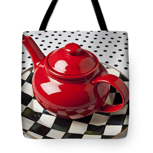 Red Teapot On Checkerboard Plate Tote Bag by Garry Gay