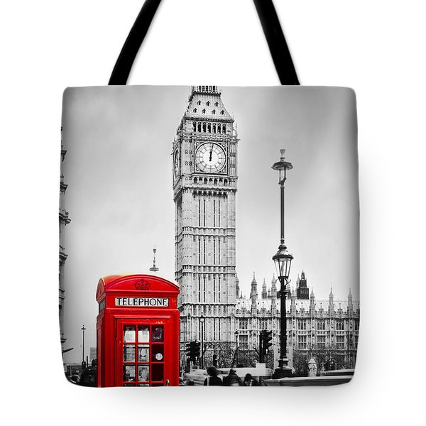 Red Telephone Booth And Big Ben In London Tote Bag