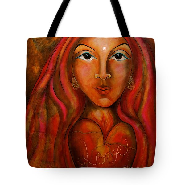 Red Thread Madonna Tote Bag by Deborha Kerr