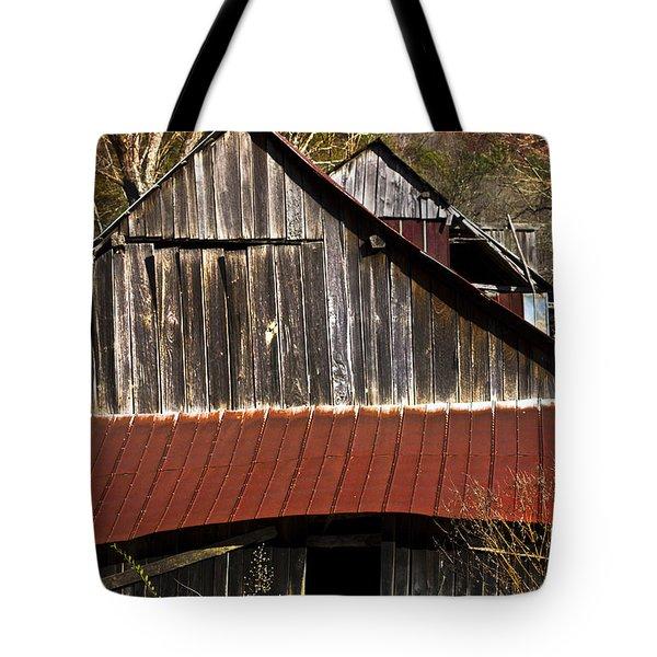Red Tin Roof Tote Bag by Debra and Dave Vanderlaan