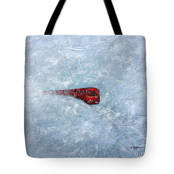 Red Train Braving The Winter Tote Bag