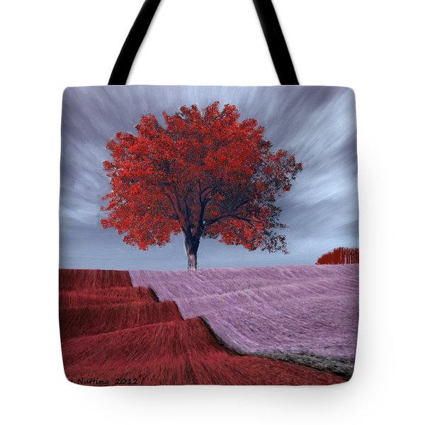 Tote Bag featuring the painting Red Tree In A Field by Bruce Nutting