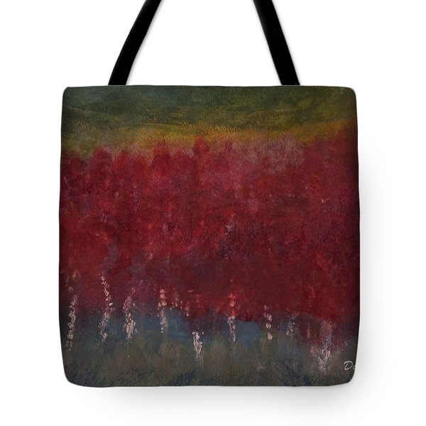 Red Trees Watercolor Tote Bag