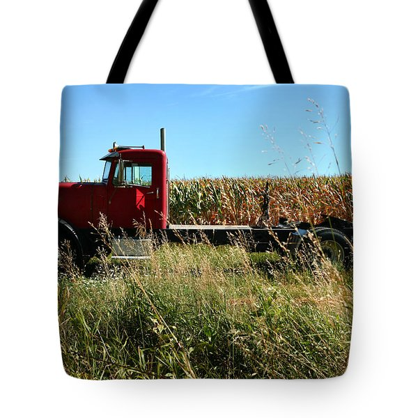 Red Truck In A Corn Field Tote Bag