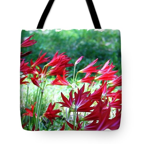 Tote Bag featuring the photograph Red Trumpets by Ellen O'Reilly