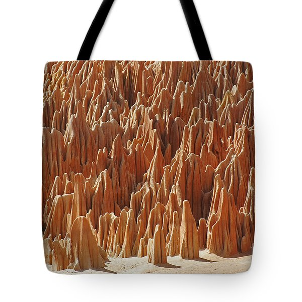 Tote Bag featuring the photograph red Tsingy Madagascar 1 by Rudi Prott