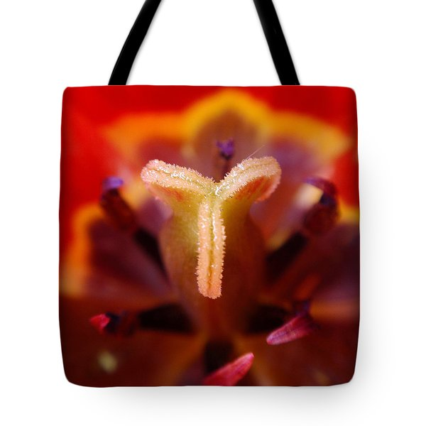 Red Tulip Abstract Tote Bag