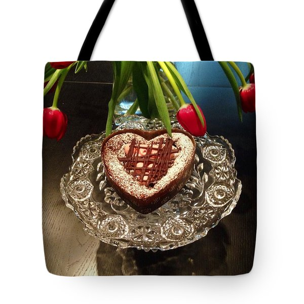 Red Tulip And Chocolate Heart Dessert Tote Bag by Susan Garren