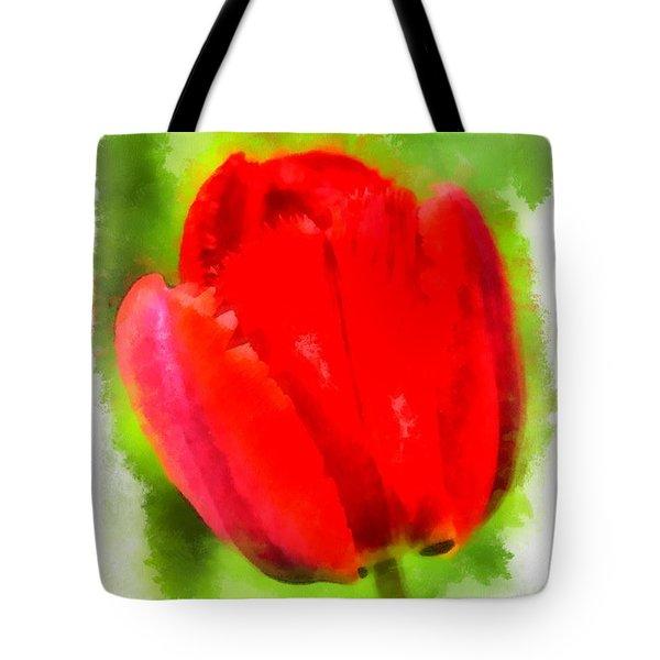 Red Tulip Aquarell Tote Bag by Matthias Hauser
