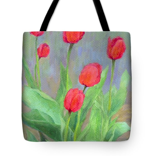 Red Tulips Colorful Painting Of Flowers By K. Joann Russell Tote Bag