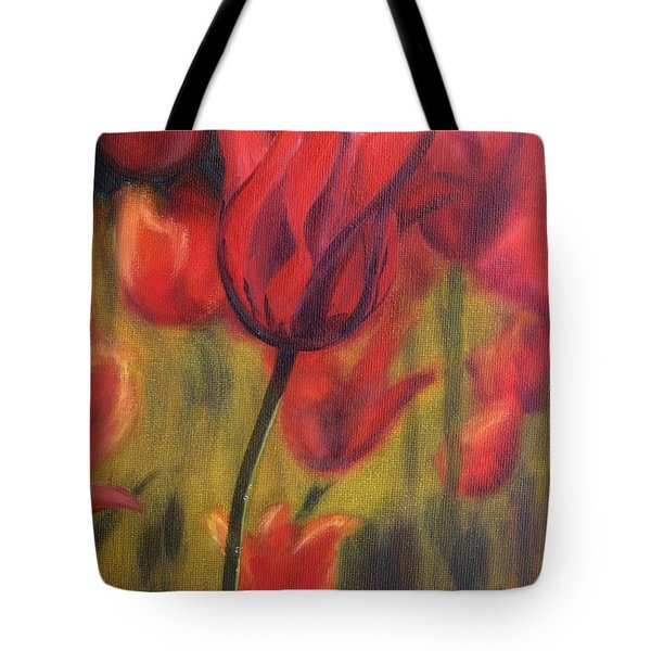 Tote Bag featuring the painting Red Tulips by Donna Tuten