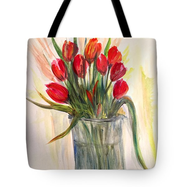 Red Tulips Tote Bag by Dorothy Maier