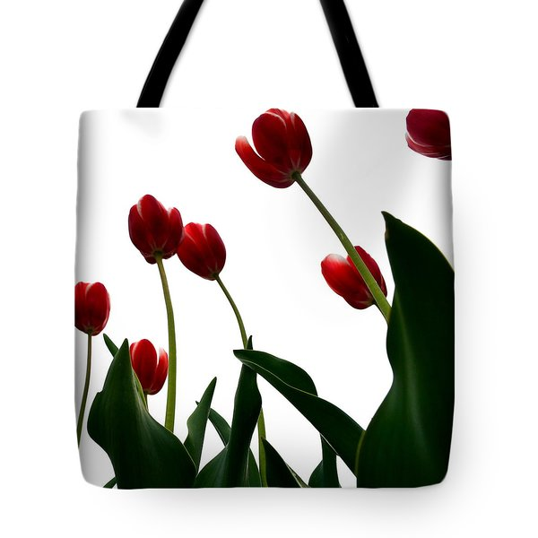 Red Tulips From The Bottom Up Vl Tote Bag by Michelle Calkins