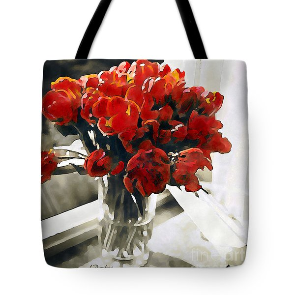 Red Tulips In Window Tote Bag by Linda  Parker