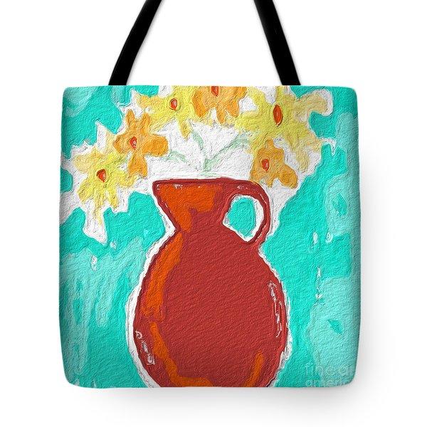 Red Vase Of Flowers Tote Bag by Linda Woods
