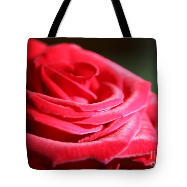 Red Velvet Rose By Morning Light  Tote Bag