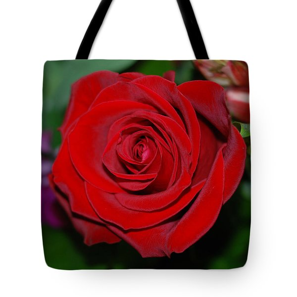 Red Velvet Rose Tote Bag by Connie Fox