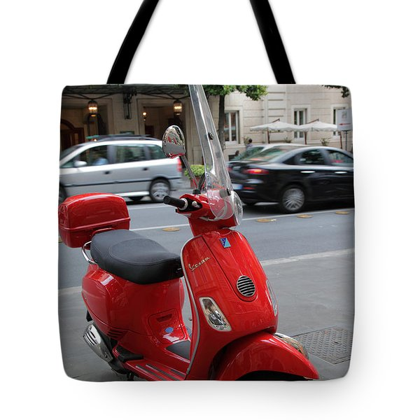 Red Vespa Tote Bag by Inge Johnsson