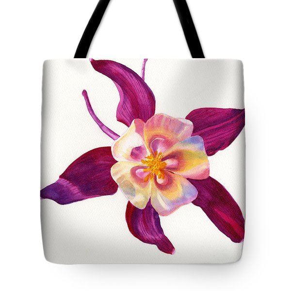Red Violet Columbine Square Design Tote Bag by Sharon Freeman
