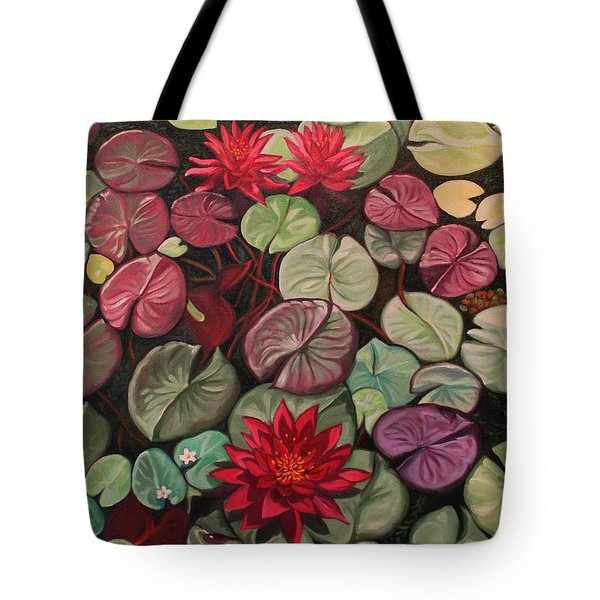 Red Water Lilies Tote Bag