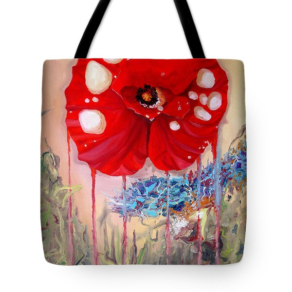Tote Bag featuring the painting Red Weed Red Poppy by Daniel Janda