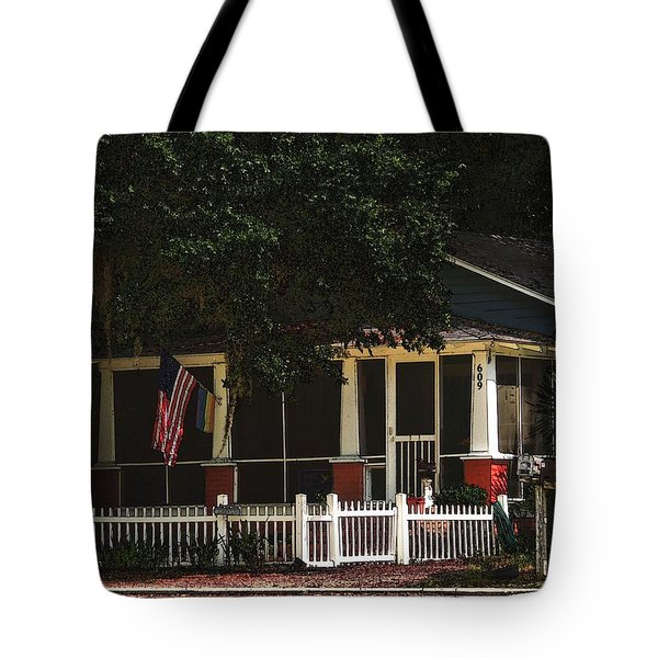 Tote Bag featuring the photograph Red White And Blue Cottage by Laura Ragland