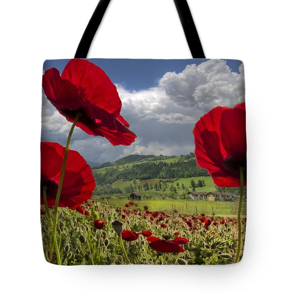 Red White And Blue Tote Bag by Debra and Dave Vanderlaan