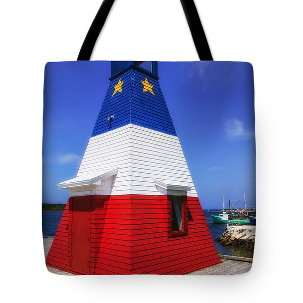 Red White And Blue Lighthouse Tote Bag by Garry Gay