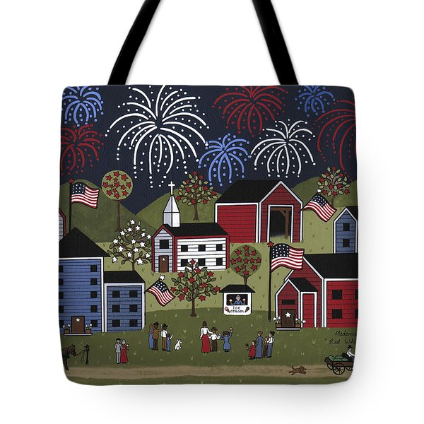 Red White And Blue Tote Bag by Medana Gabbard