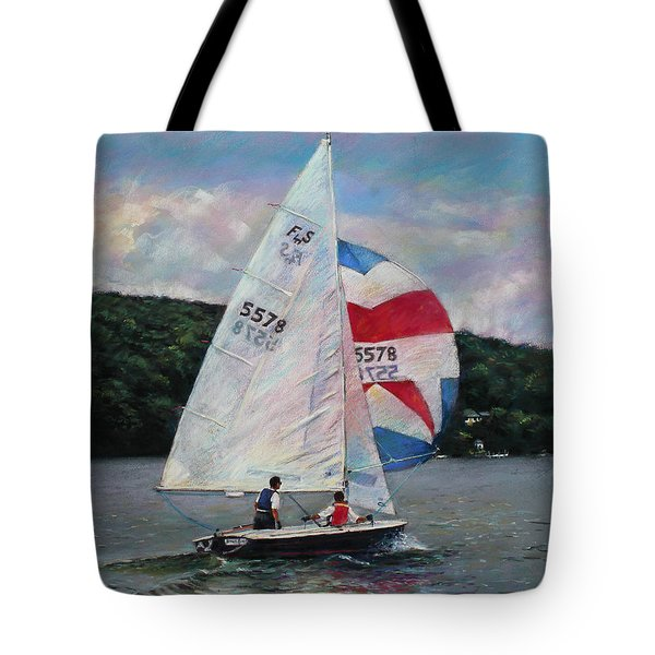 Red White And Blue Sailboat Tote Bag by Viola El