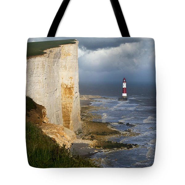 White Cliffs And Red-white Striped Lightouse In The Sea Tote Bag