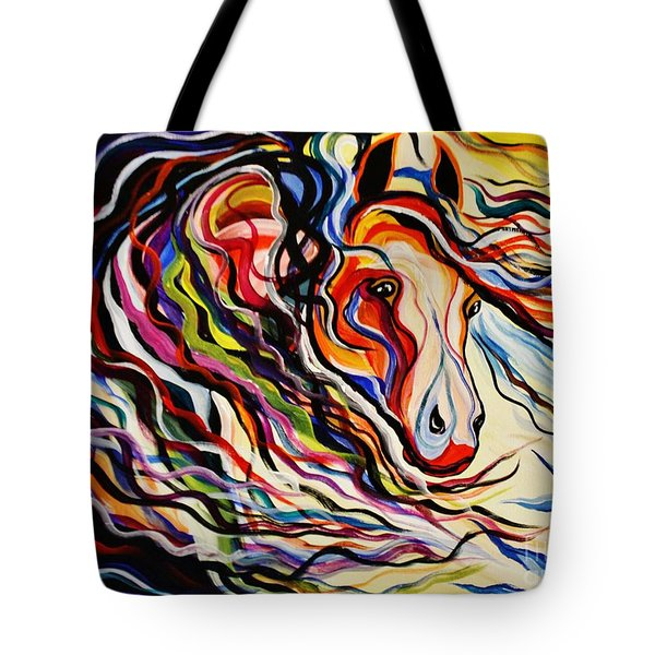 Red Wind Wild Horse Tote Bag by Janice Rae Pariza