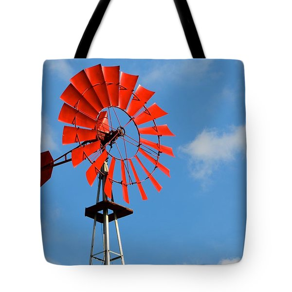Red Windmill Tote Bag