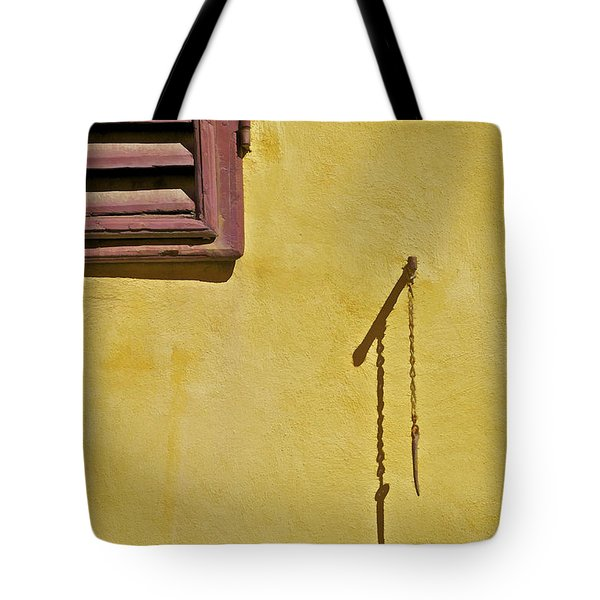 Tote Bag featuring the painting Red Window Shutter Of Tuscany by David Letts