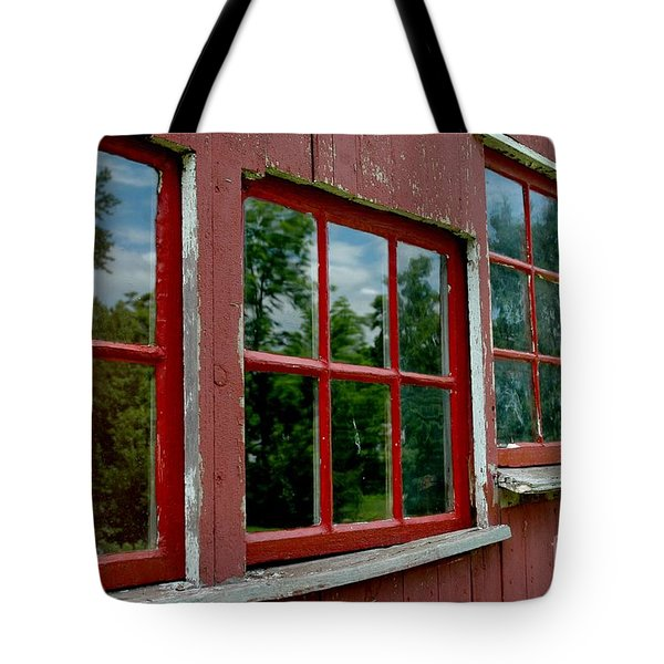Tote Bag featuring the photograph Red Windows Paned by Christiane Hellner-OBrien