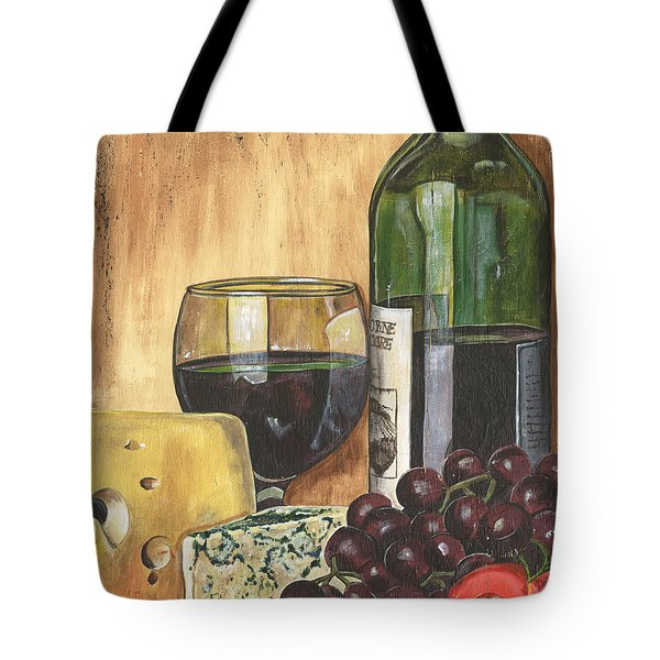 Red Wine And Cheese Tote Bag by Debbie DeWitt