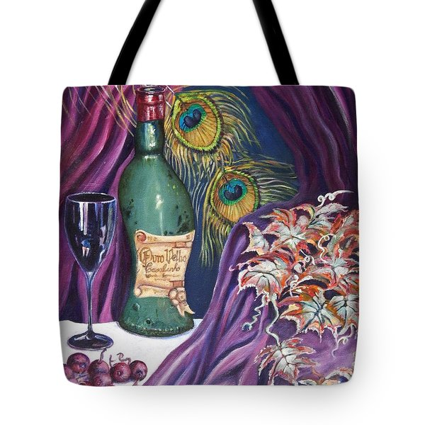 Red Wine And Peacock Feathers Tote Bag by Caroline Street