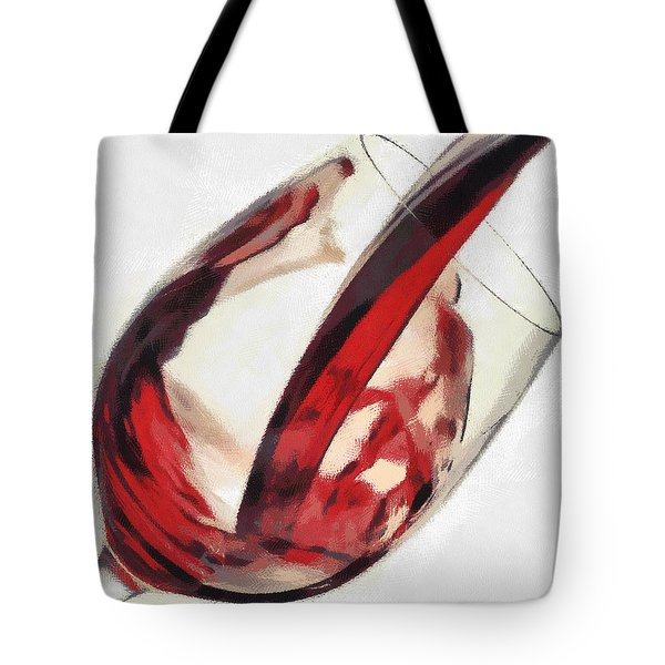 Red Wine  Into Wineglass Splash Tote Bag by Georgi Dimitrov