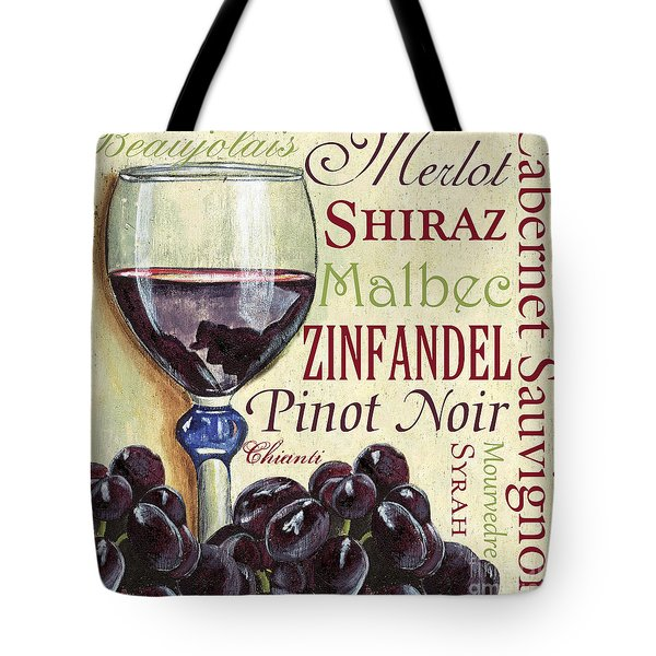 Red Wine Text Tote Bag
