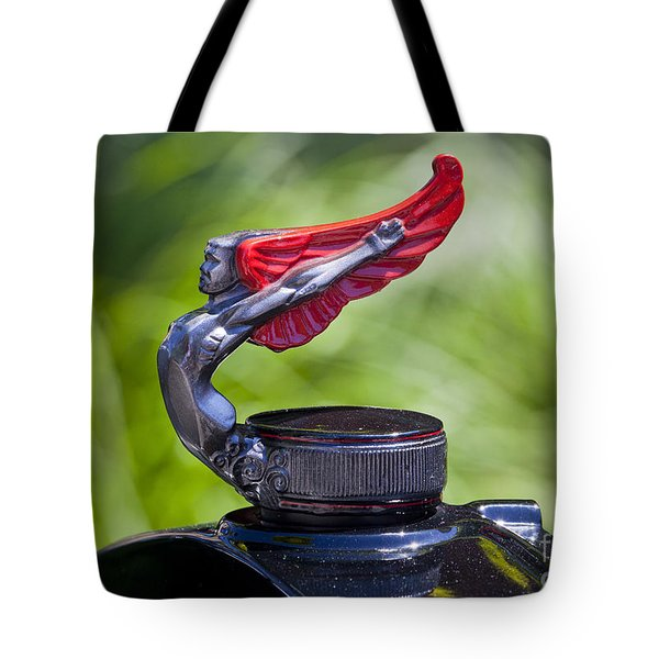 Red Wings Hood Ornament Tote Bag by Chris Dutton