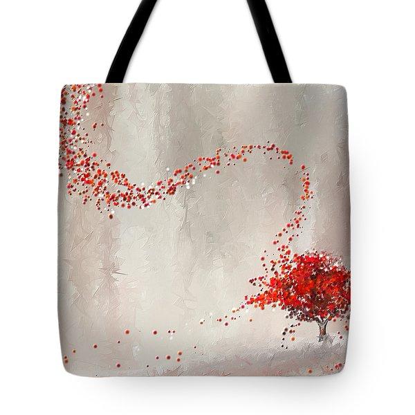 Red Winter Tote Bag