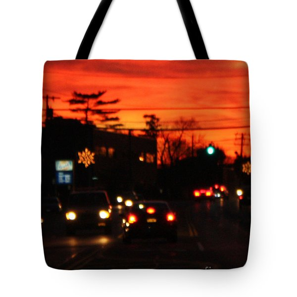 Red Winter Sunset Over Long Island Suburbs Tote Bag by John Telfer