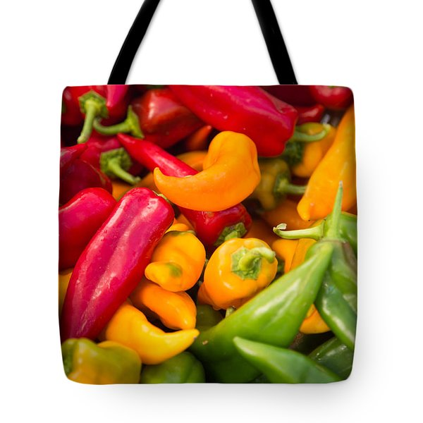 Red Yellow Green Peppers Together Tote Bag